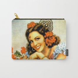 Mexican Calendar Girl with Guitar by Jesus Helguera Carry-All Pouch