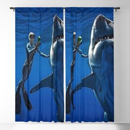 Cold Beauty - Woman Scuba Diving with Great White Shark Portrait Painting Blackout Curtain