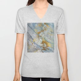Lovely Marble with Gold Overlay Unisex V-Neck