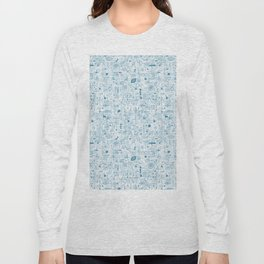 Blue and White Space Inspired Futuristic Pattern Long Sleeve T-shirt