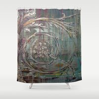 baroque Shower Curtains featuring Baroque Scroll by Azure Cricket