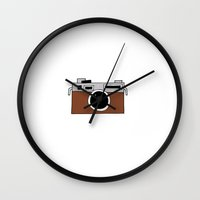 vintage camera Wall Clocks featuring camera by THE HOUSE OF FOX