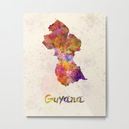 Guyana in watercolor Metal Print