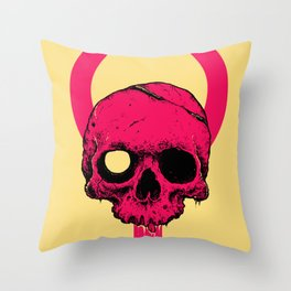 Pink Pop Skull Throw Pillow