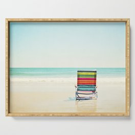 Beach Chair Photography, Colorful Coastal Ocean Landscape Serving Tray