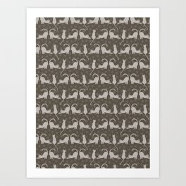 Brown and Gray Cute Stretching Cats Vector Pattern Art Print