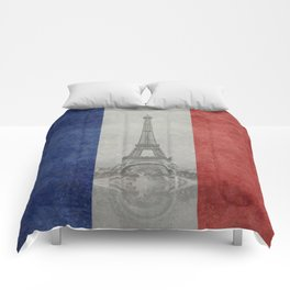 Flag of France with Eiffel Tower Vintage style Comforters