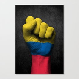 Colombian Flag on a Raised Clenched Fist Canvas Print