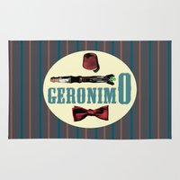 "fez Area & Throw Rugs featuring Doctor Who: 11th Doctor - ""Geronimo"" by Neobie Gonzalez"