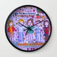 teacher Wall Clocks featuring Teacher Appreciation by MyGirlyArt