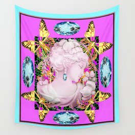 Aquamarine-Purple Yellow Butterfly Princess Design Wall Tapestry