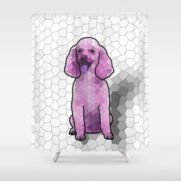 Poodle in Amethyst Mosaic Shower Curtain