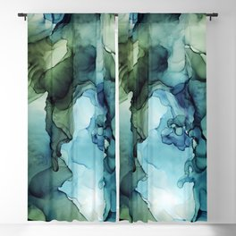 Land and Water Abstract Ink Painting Blues and Greens Blackout Curtain