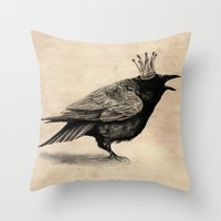 raven Throw Pillows featuring Raven by Anna Shell