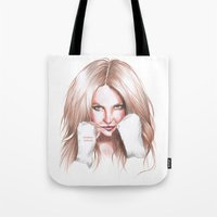 britney spears Tote Bags featuring Britney Spears Shape Magazine by Eduardo Sanches Morelli