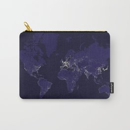 The world map at night in navy blue Carry-All Pouch