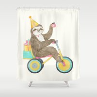 birthday Shower Curtains featuring birthday sloth by Laura Graves