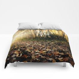 Walking cross autumn Comforters
