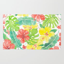 Tropical garden, hibisus, plumeria and palm leaves Rug