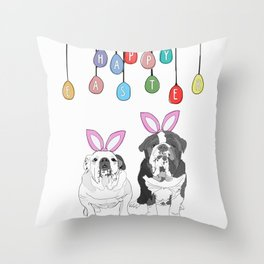 Happy Easter - Bulldog Bunnies Throw Pillow