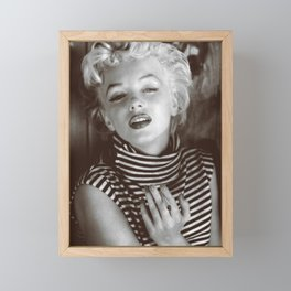 Monroe Black and White Portrait Framed Mini Art Print