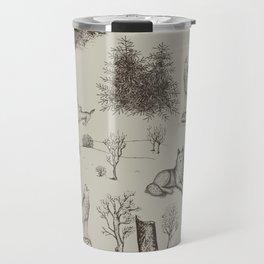 Eurasian Wolf Toile Pattern (Beige and Brown) Travel Mug