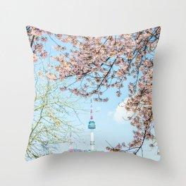 Seoul Tower - Spring Throw Pillow
