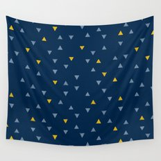 DOWN UP / midnight blue / denim / gold Wall Tapestry