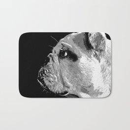 english bulldog dog vector art black white Bath Mat