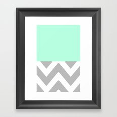 MINT & CHEVRON COLORBLOCK Framed Art Print