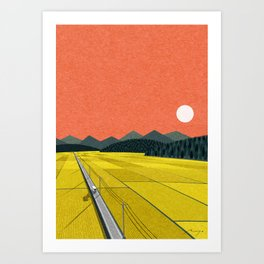 Sunset on rice field Art Print
