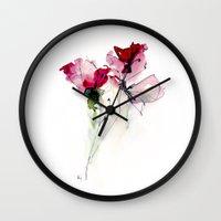 poppy Wall Clocks featuring poppy by beautifyprints