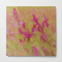 Pink Splatter Garden Metal Print