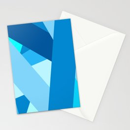 Retro Blue Mid-Century Minimalist Geometric Line Abstract Art Stationery Cards