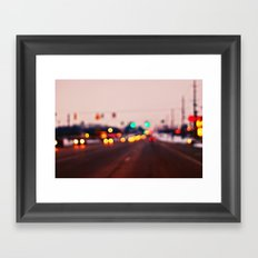 City Lights Bokeh Framed Art Print