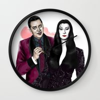 selena gomez Wall Clocks featuring Gomez & Morticia by Myrtle Quillamor