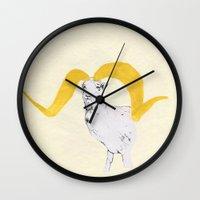 ram Wall Clocks featuring Ram by Amy Veried