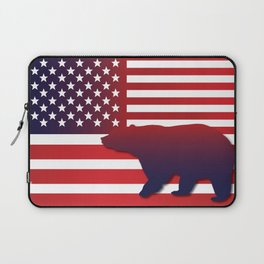 American flag Bear California Laptop Sleeve