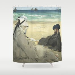 On the Beach - Edouard Manet Shower Curtain