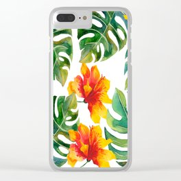 Monstera And Hibiscus Clear iPhone Case