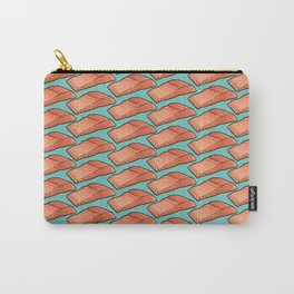 Salmon Fillets in Flight, Seafood on Teal Carry-All Pouch
