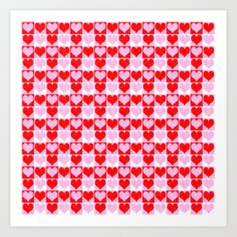 Love Heart Red Pink and White Check Pattern Art Print