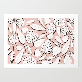 Filodendros white & pink Art Print