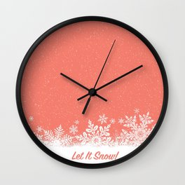 Let It Snow in Living_Coral Wall Clock