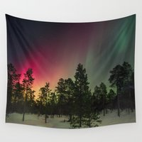 northern lights Wall Tapestries featuring Northern Lights  by Limitless Design