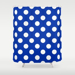 International Klein Blue - blue - White Polka Dots - Pois Pattern Shower Curtain