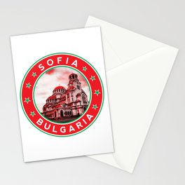 Sofia, Bulgaria, Alexander Nevsky Cathedral, circle, red Stationery Cards