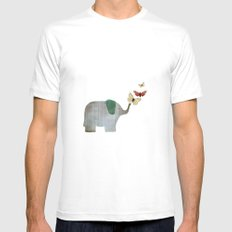 Elephant and friends White MEDIUM Mens Fitted Tee
