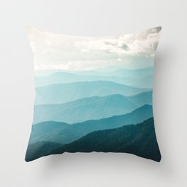 Turquoise Smoky Mountains - Wanderlust Nature Photography Throw Pillow