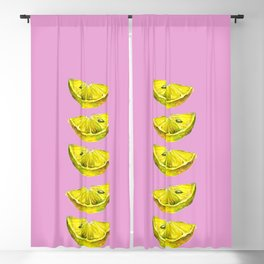 Lemon Slices Pink Blackout Curtain
